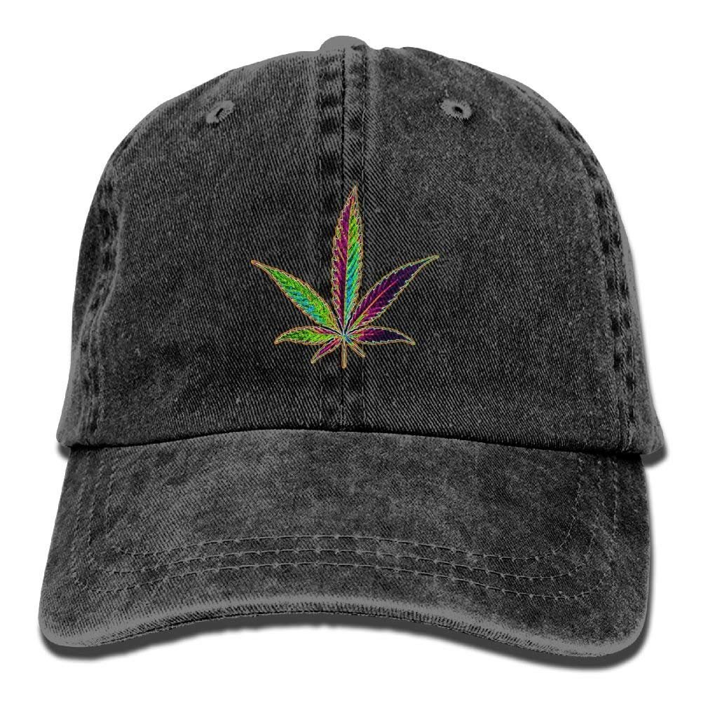Unisex Classic Denim Cannabis Leaf Adjustable Baseball Cap Dad Hat Low Profile Perfect for Outdoor