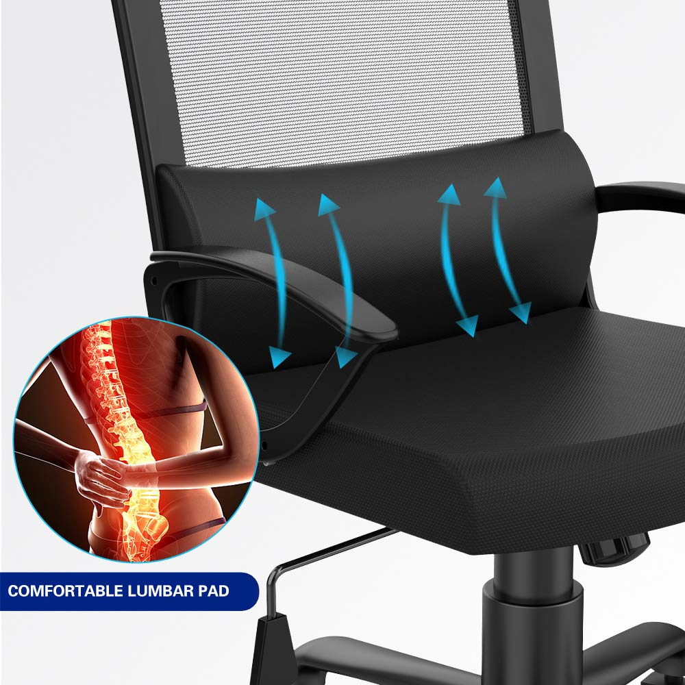 Smugdesk Ergonomic Office Chair High Back Mesh Office Chair Adjustable Headrest Computer Desk Chair for Lumbar Support by Smugdesk (Image #3)