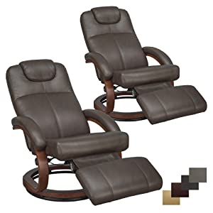 "RecPro Charles 28"" RV Euro Chair Recliner Modern Design RV Furniture (2, Chestnut)"