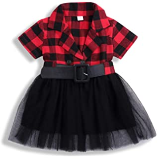 0978d8384 Little Kids Baby Girl Dresses White and Black Plaid Tutu Skirt Party  Princess Formal Outfit Clothes