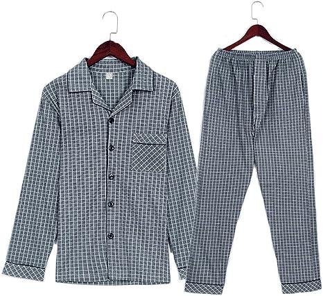 Pijamas Hombre Ropa de Dormir Hombre Algodón Gris A Cuadros ...
