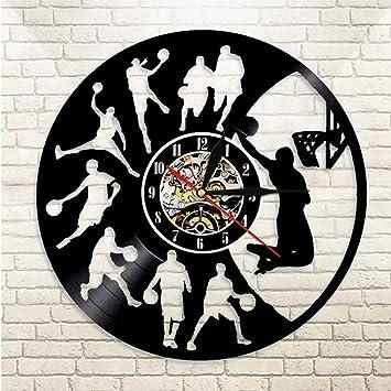 GuoEY Reloj de Pared de Baloncesto de iluminación LED Mute Relojes Decorativos de diseño Moderno Cuarto de los Chicos de Vinilo Tema Deportivo Reloj de ...