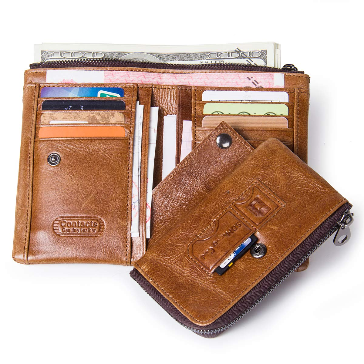 73e9aac42b2a Amazon.com: Contacts Real Leather Mens Wallets Purse Card Holder Money Clip  Zipper Coin Pocket Brown: Clothing