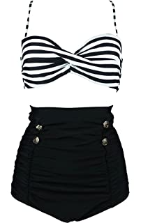 34ca8b13be0 COCOSHIP Retro Polka Dot Twisted Front High Waisted Bikini Set Tie Belt  Vintage Ruched Swimsuit(