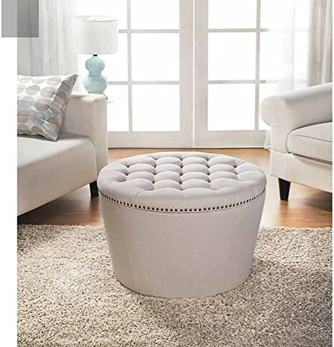 Better Homes and Gardens Round Tufted Storage Ottoman with Nailheads Cream