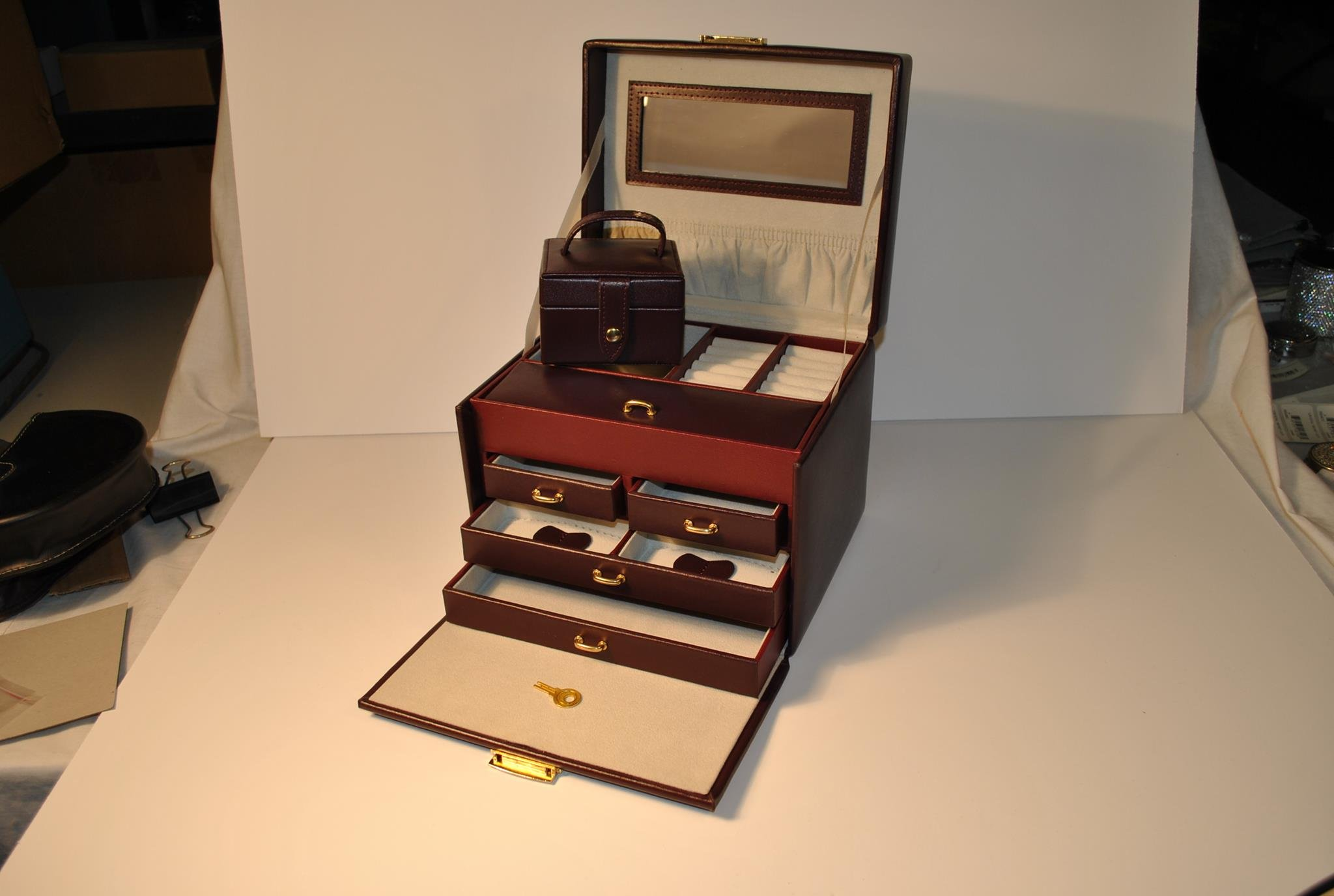 Budd Leather 4-Drawer Jewel Box with Travel Box, Large, Burgundy by Budd Leather (Image #2)
