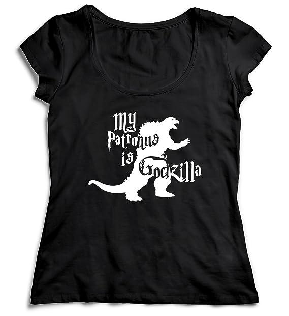 MYMERCHANDISE My Patronus Is Godzilla T-Shirt Camiseta Shirt para la Mujer Camisa Negra Womens