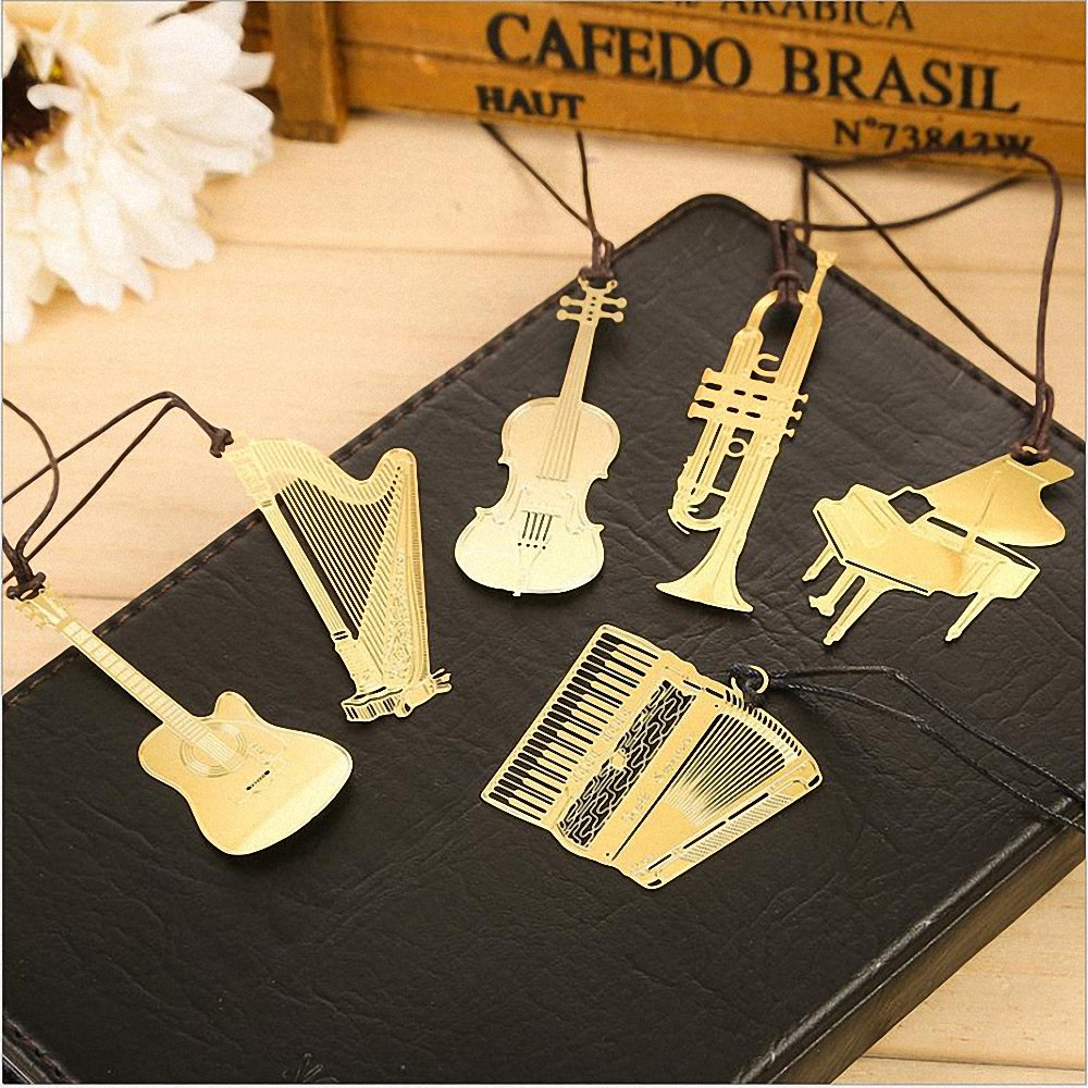 Amupper Cuted 18k Gold Plated Stainless Steel Book Mark 6 Pcs Musical Instrument Metal Bookmark