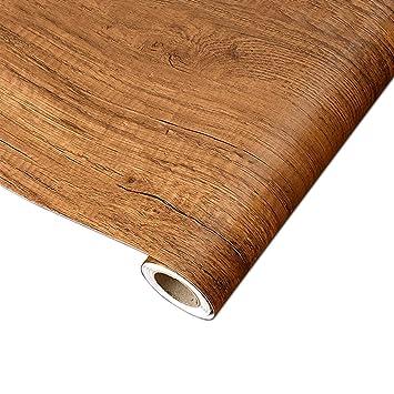 Yenhome Pvc Marron Clair Wood Grain Contact Papier Peint Decoratif