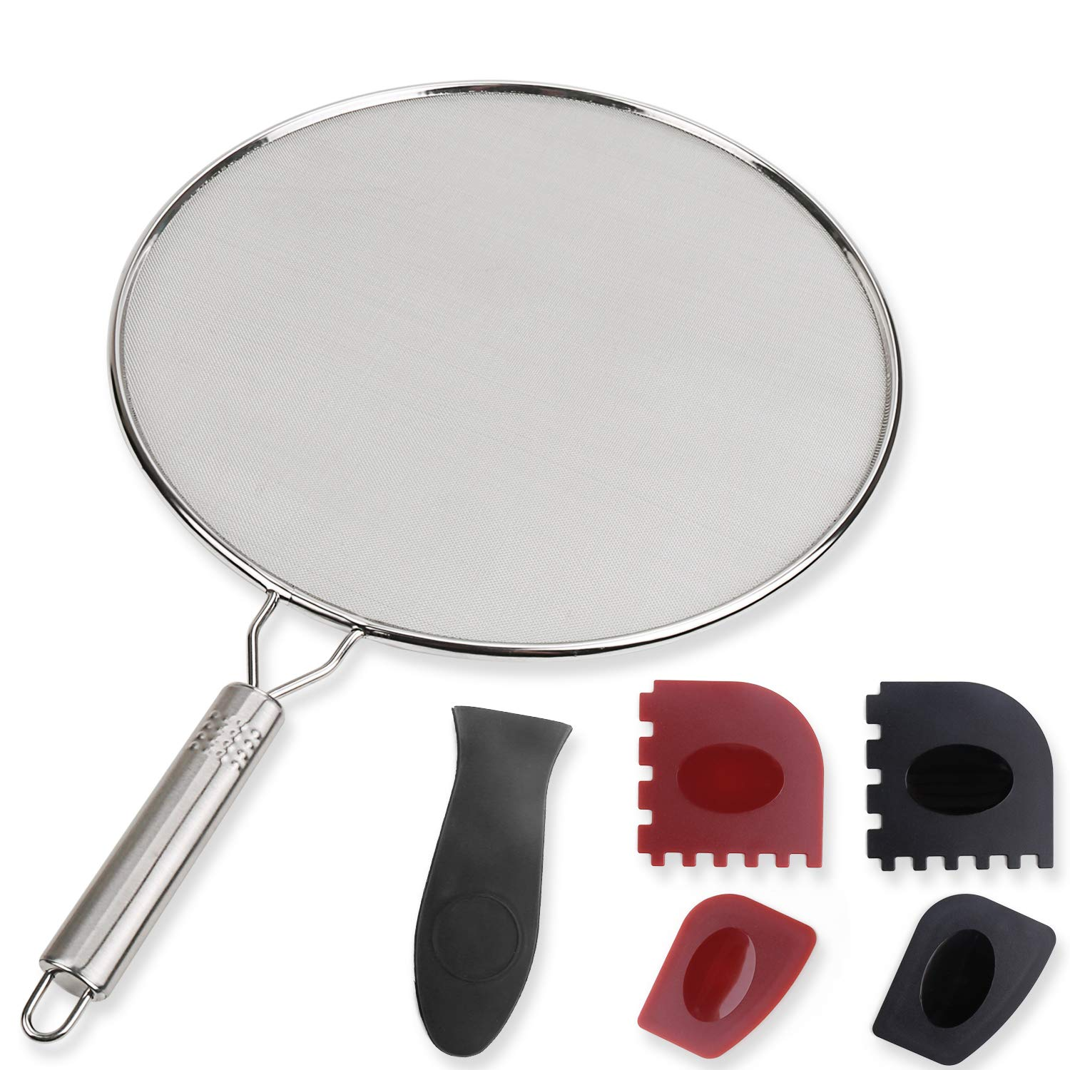 HostStyleZ Splatter Screen Set - 17.52'' Stainless Steel Grease Guard - with Silicone Hot Handle Holder - Plus Grill & Cooking Pan Scrapers - BPA Free - Oil Shield for Frying Pans and Skillets by HostStyleZ