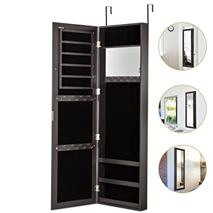 HERRON Jewelry Armoire With Mirror Door Or Wall Mounted Jewelry Cabinet  Organizer For Women,Brown