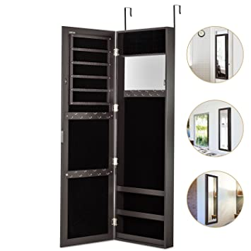 Jewelry Armoire With Mirror Door Or Wall Mounted Jewelry Cabinet Organizer  For Women,Brown