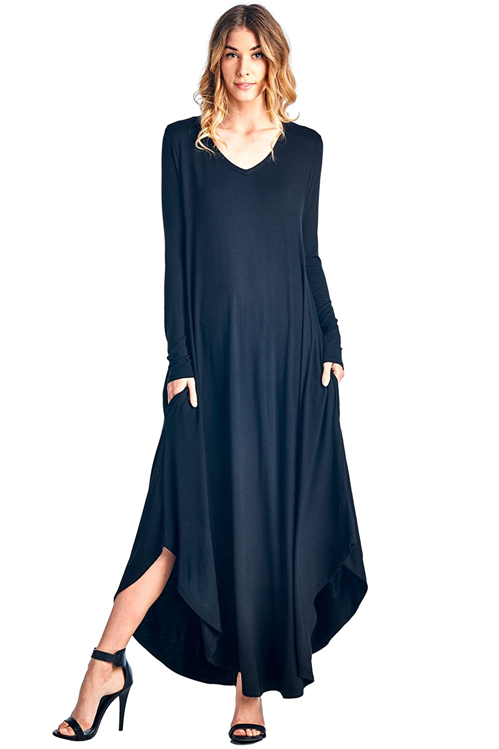 12 Ami Curved Hem V-Neck Long Sleeve Maxi Dress - Made in USA