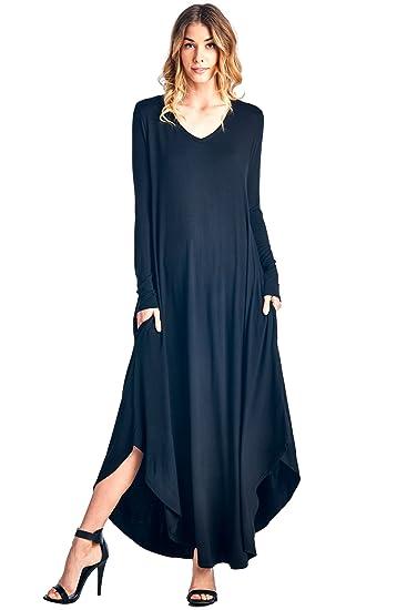 12 Ami Curved Hem V Neck Long Sleeve Maxi Dress S Xxxl Made In