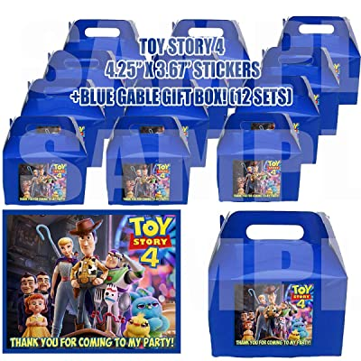 Toy Story 4 Movie Party Favor Boxes with Thank You Decals Stickers Loots Blue Birthday 12 Pieces Great Seller Forky Duke Caboom Bunny Ducky Woody Buzz Lightyear Bonnie Bo Peep: Toys & Games [5Bkhe0307383]