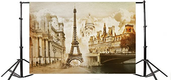 YEELE Scenic Eiffel Tower Backdrop 10x8ft Beautiful City Landscape from Window Near Seine River Photography Background Europe Resort Travel Theme Kids Adults Artistic Portrait Photoshoot Props
