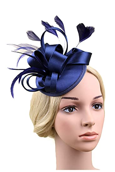 Women s Bow Hair Clip Lace Feather Mini Top Hat Fascinator Fancy Party  Purple One Size at Amazon Women s Clothing store  6a107985464