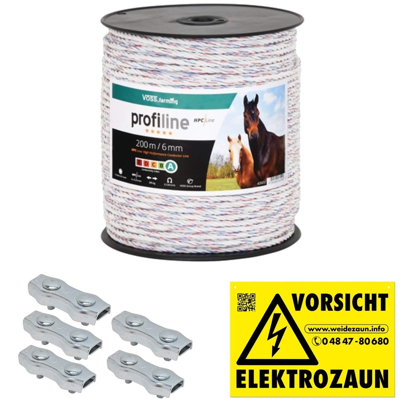 VOSS.farming 200m Kunststoffseil 6mm mit Seilverbindern Weidezaunseil Weidezaun Litze Kordel fü r Pferdezaun Pferdekoppel