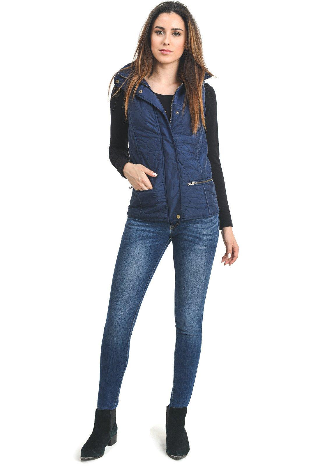Instar Mode Womens Lightweight Quilted Zip Jacket/Vest (WV22113 Navy, Medium)