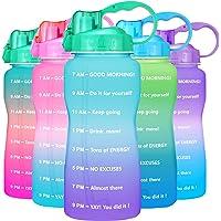 $20 » BuildLife Half Gallon Water Bottle - 64oz Motivational Time Marker & Straw BPA Free…