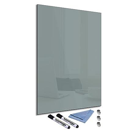 FTB Pizarra magnética de cristal gris 40 x 60 cm Whiteboard ...