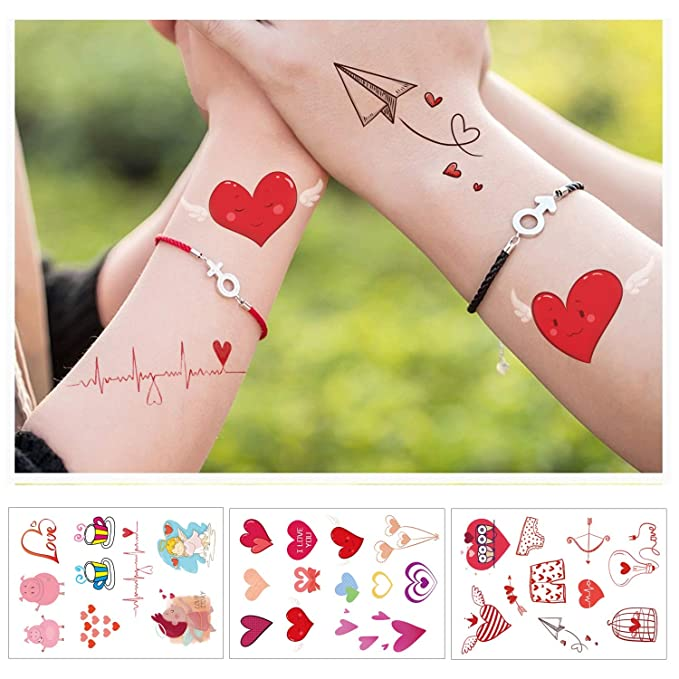 Konsait 10 Hojas Grande Boda San Valentín Temporal Tatuajes para ...