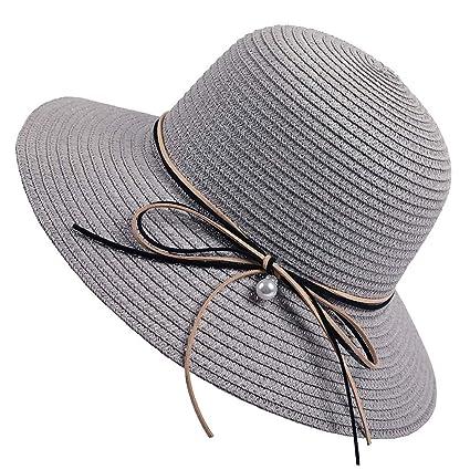 ff2dbcbbeb1096 Xlala Women Summer Straw Cap Beach Hat Summer Wide Brim Hat Floppy Foldable  Cap Anti Uv