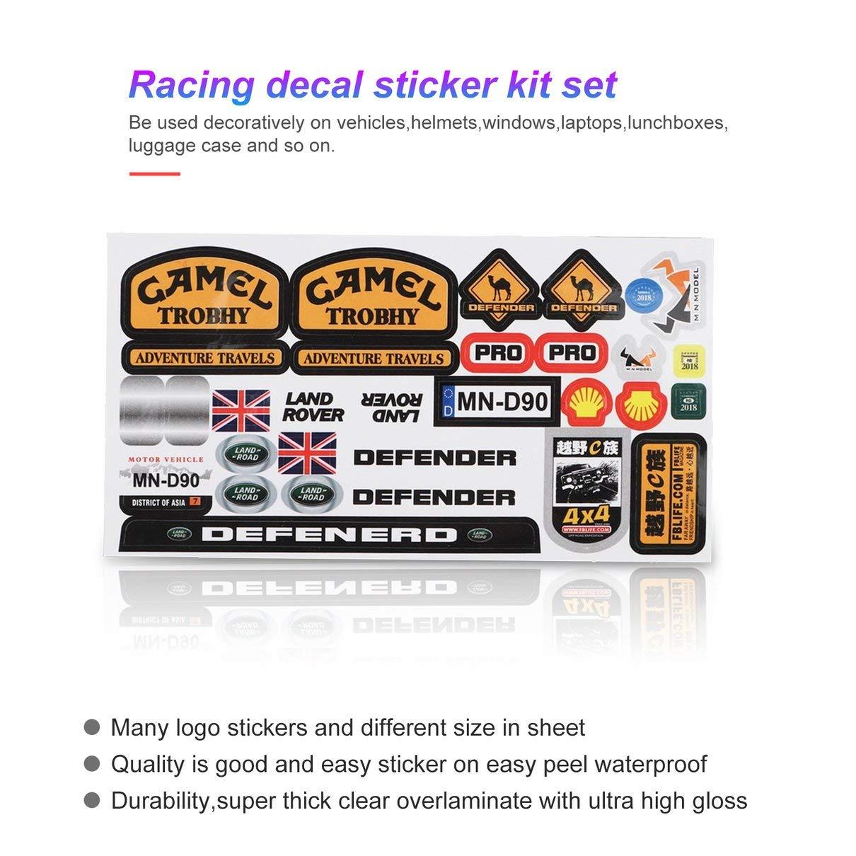 fghfhfgjdfj Micro Sponsor Logo Racing Hoja de Pegatinas Universal para WPL y MN RC Car Crawler Sticker Parts RC Car Parts Durabilidad