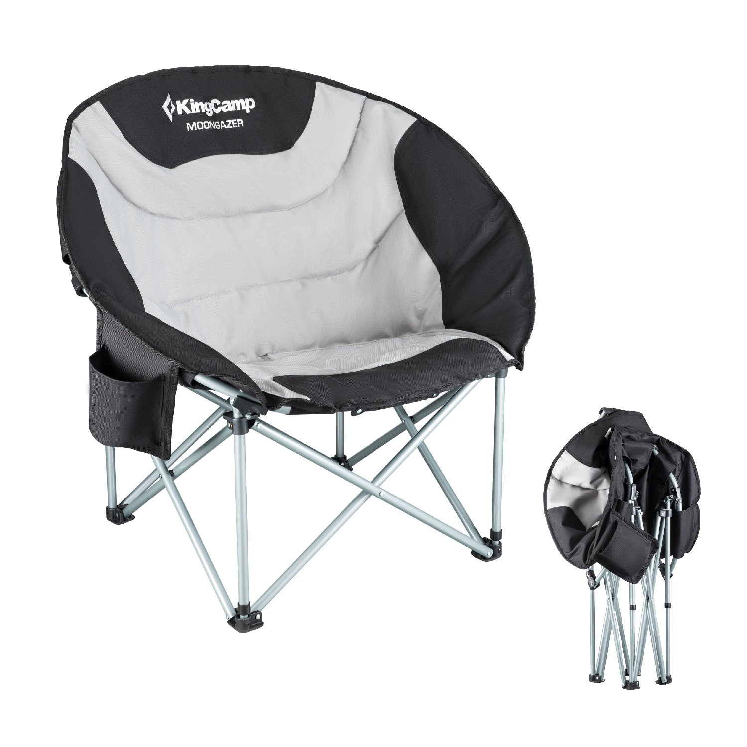 KingCamp Moon Saucerレジャー頑丈スチールキャンプ椅子パッド入りSeat withクーラーバッグ B073F5X9DD  Grey with Cup Holder