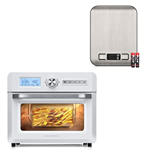 Crownful Digital Food Scales and 19 Quart Air Fryer Toaster Oven Convection Roaster with Rotisserie & Dehydrator, 10-in-1 Countertop Oven, Original Recipe and 8 Accessories Included