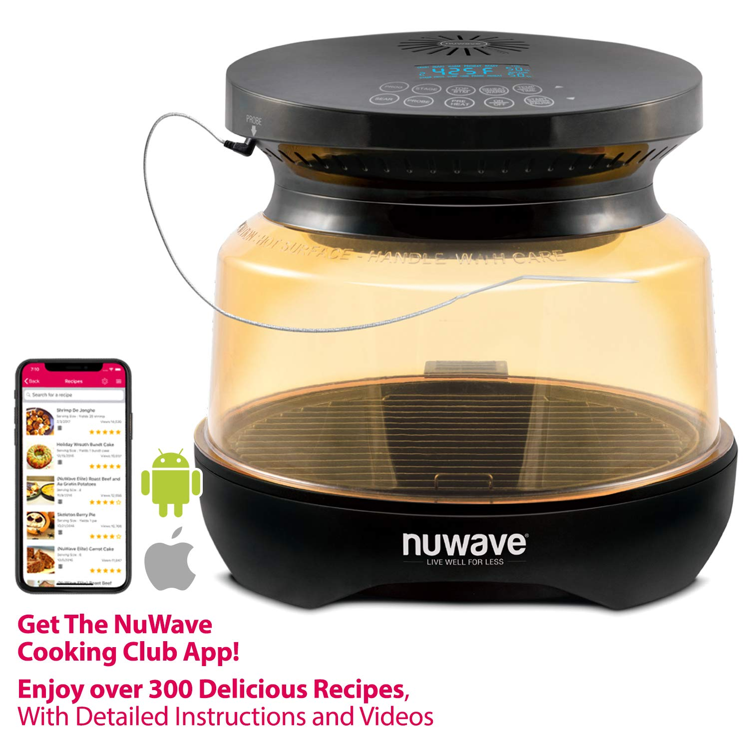 NUWAVE PRIMO Infrared Grill Oven with Integrated Digital Temp Probe for PERFECT Results Convection Top Grill Bottom for Surround Cooking High Heat Resistant PPSU Dome and Enhanced Base Tray Coating Cook Frozen or Fresh Broil, Roast, Grill, Bake, Dehydrate Air Fry