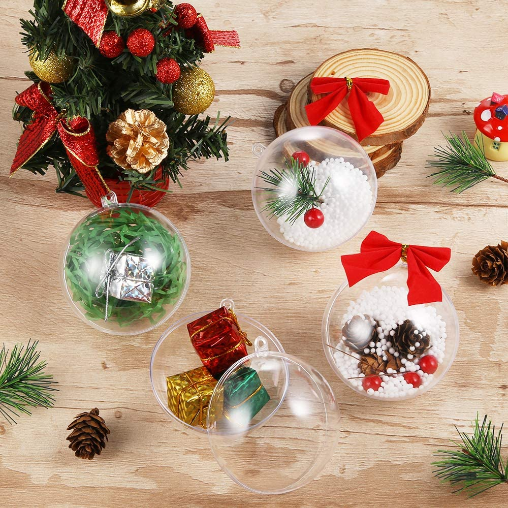 8 cm Juego de 12 Bolas de Navidad y Accesorios Transparentes rellenables con Bolas para /árbol de Navidad Auihiay