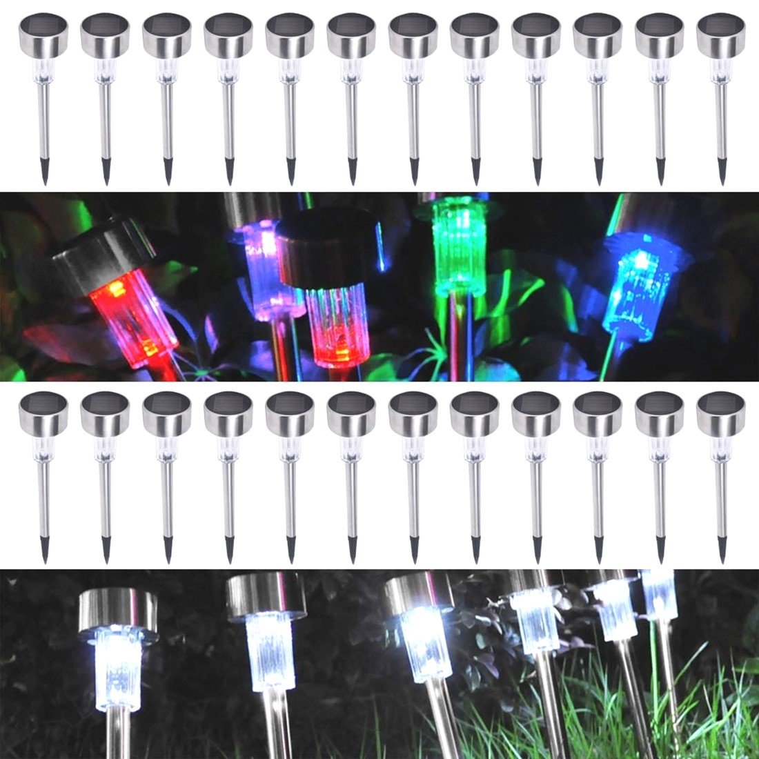 24 Pack Outdoor Stainless Steel LED Solar Power Light w/ White & Color Changing