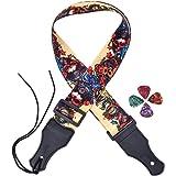 Antner Adjustable Guitar Strap and 4 Pcs Guitar Picks, Red-faced Skull Jacquard Weave Strap for Guitar