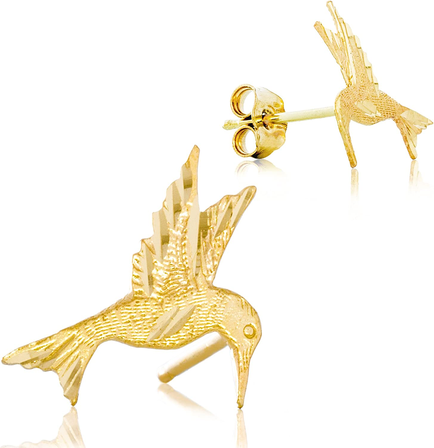 Solid 14K Yellow Gold Hummingbird Earrings | Animal Earrings with Intricate Detailing | 11.7mm x 11.3mm | 0.6g