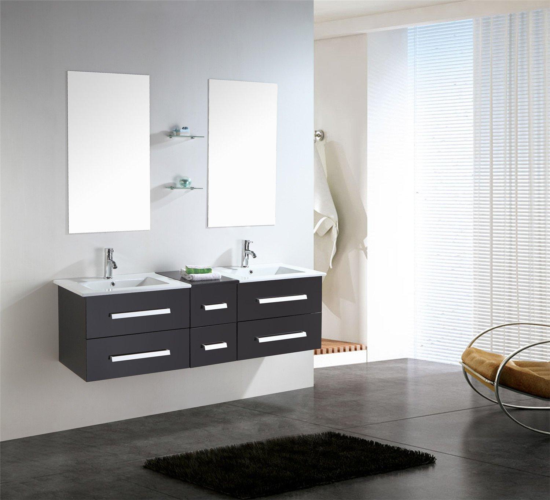 mobile bagno arredo bagno completo 150 cm doppio lavabo rubinetti ... - Arredo Bagno Moderno Doppio Lavabo