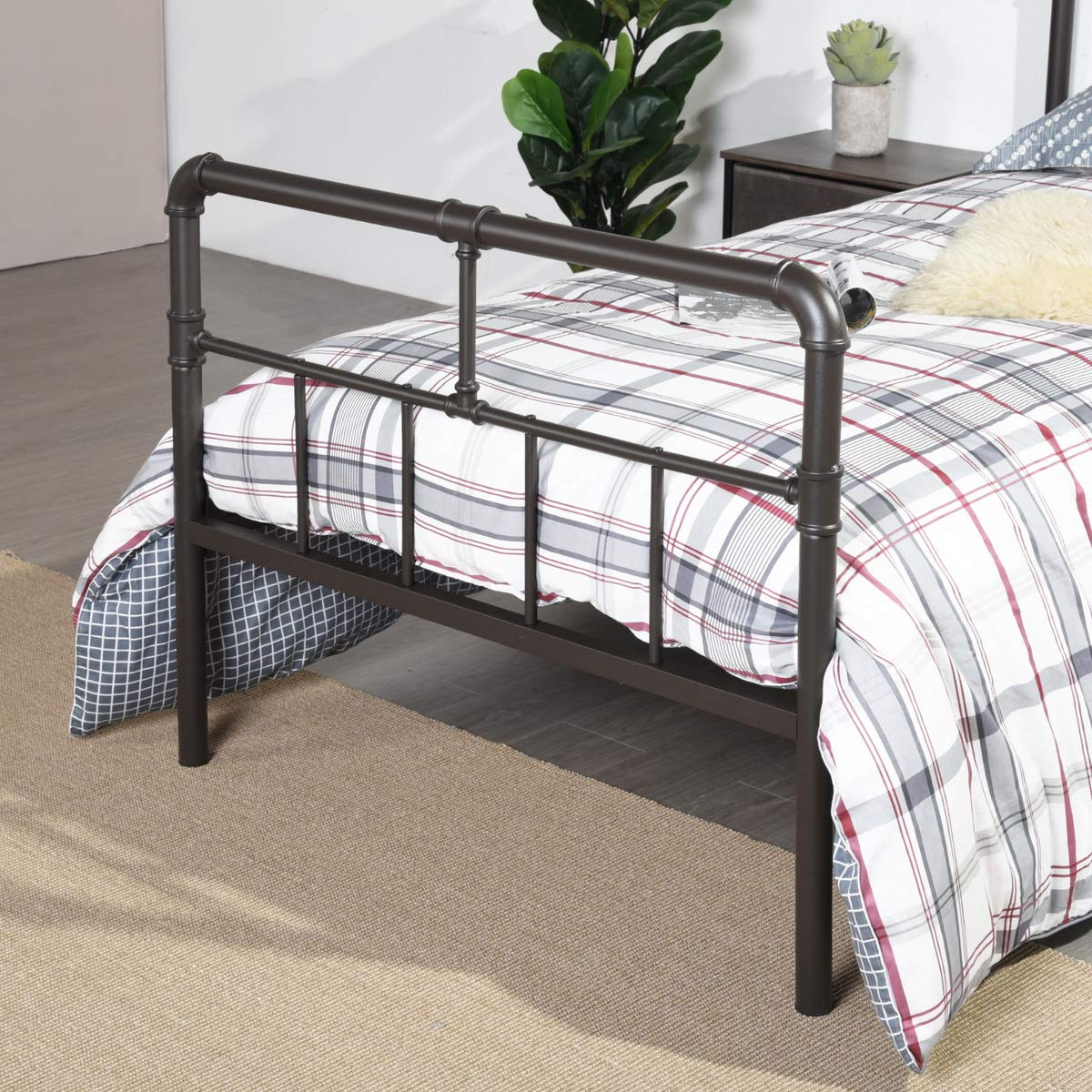 GreenForest 14inch Single Metal Platform Bed with Wood Slats Support Reinforced Bed Frame with High Headboard Mattress Foundation No Need Box Spring Twin Size Matte Dark Coffee