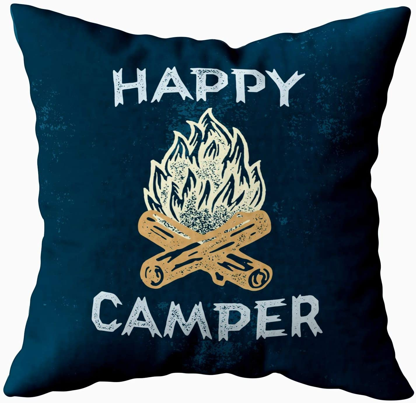 Shorping Decrotive Pillow Covers, Zippered Covers Pillowcases 18X18Inch Throw Pillow Covers Happy Lettering Apparel Print Outdoor Logo Emblem Campfire for Home Sofa Bedding
