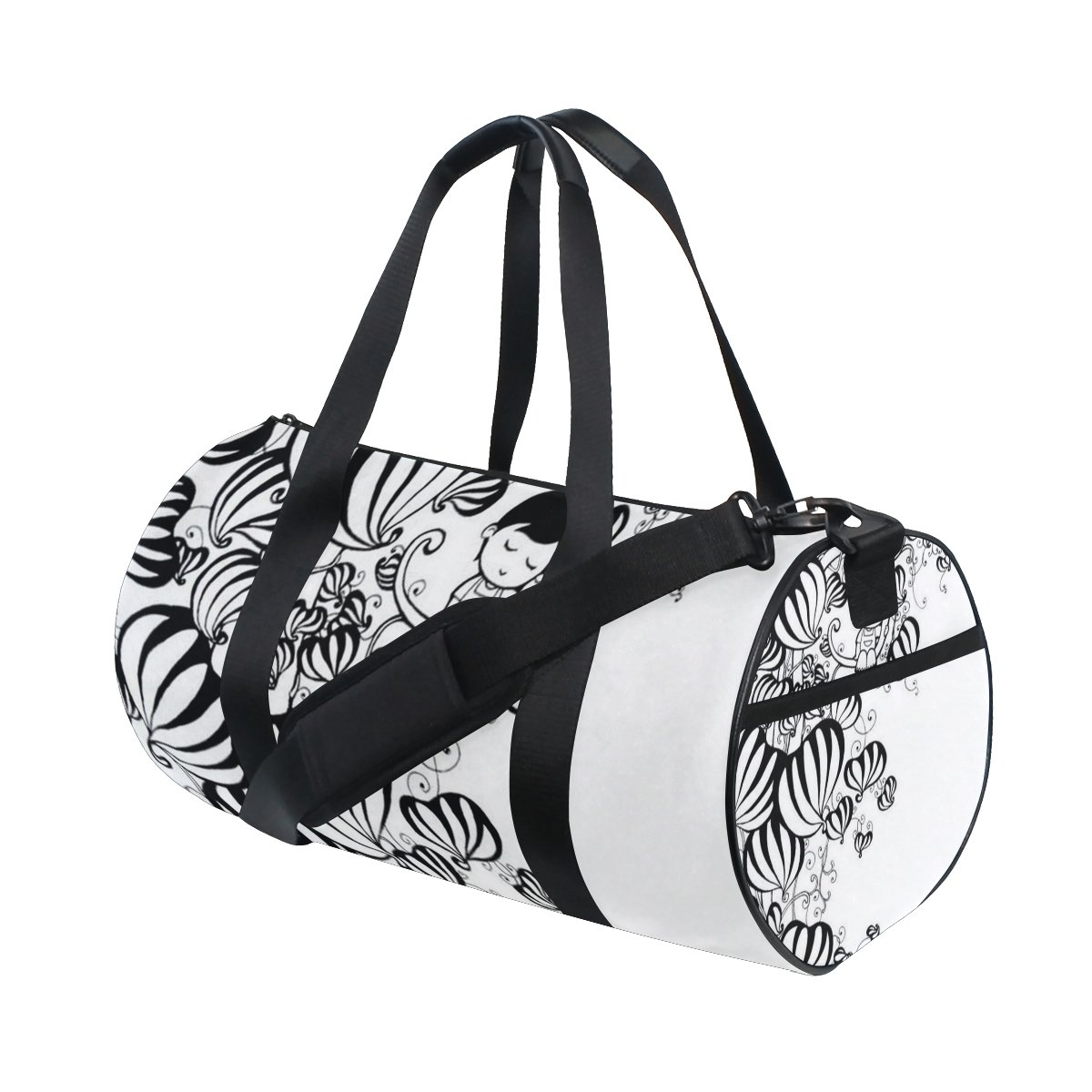 Cartoon Boy Black White Lightweight Canvas Sports Bag Duffel Yoga Gym Bags