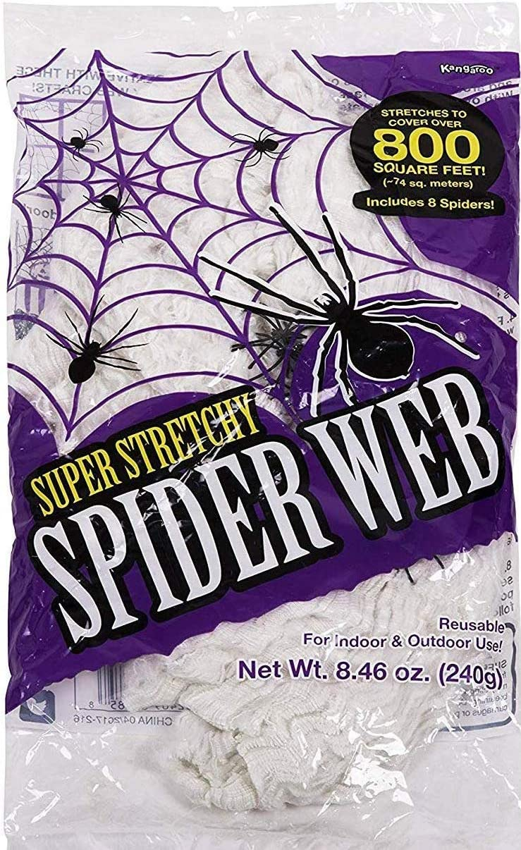 Azi 1 Pack Reusable Super Stretchy Halloween Spider Webs Indoor & Outdoor Spooky Spider Webbing with Mini Spiders 800 sqf