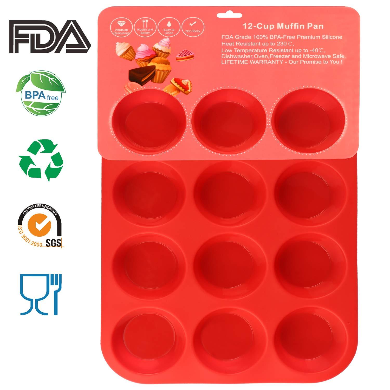 Philo Next Pan, de 12 Taza Muffin Cupcake Back de Silicona Rojo tabletts Sartenes/Non Stick/lavavajillas de microondas Seguro, 32,7 x 24,5 x 2,8