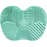 AENMIL Silicone Makeup Brush Cleaning Mat Scrubbing Pad Gloves With 7 Separate Sucker Solid Adsorption - Green