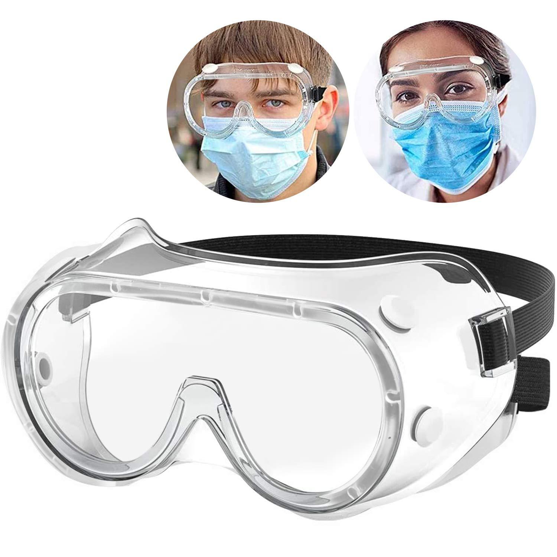Beautyshow Gafas protectoras para los ojos, antivaho y antipolvo, con banda elástica antideslizante para trabajo y construcción de laboratorio, protección para los ojos al aire libre
