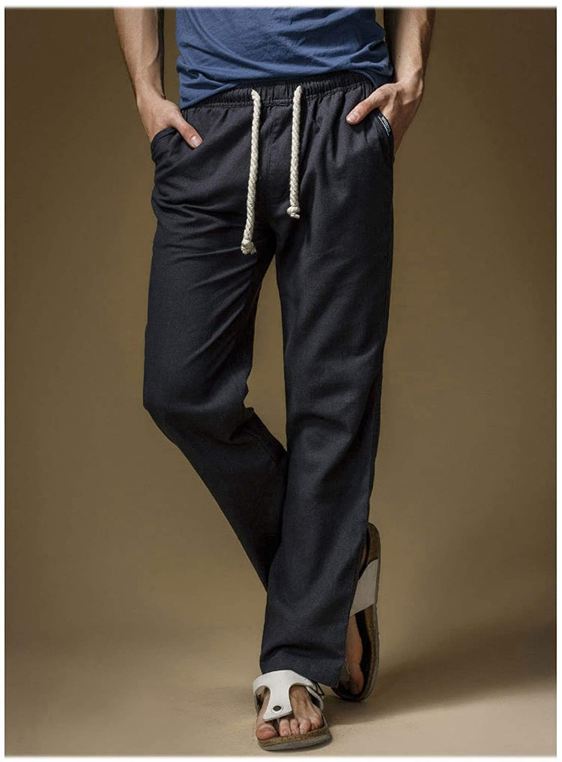 Dendrobium 2019 Summer Linen Mens Loose Breathing Pants Casual Thin Straight Trouser Pants for Men