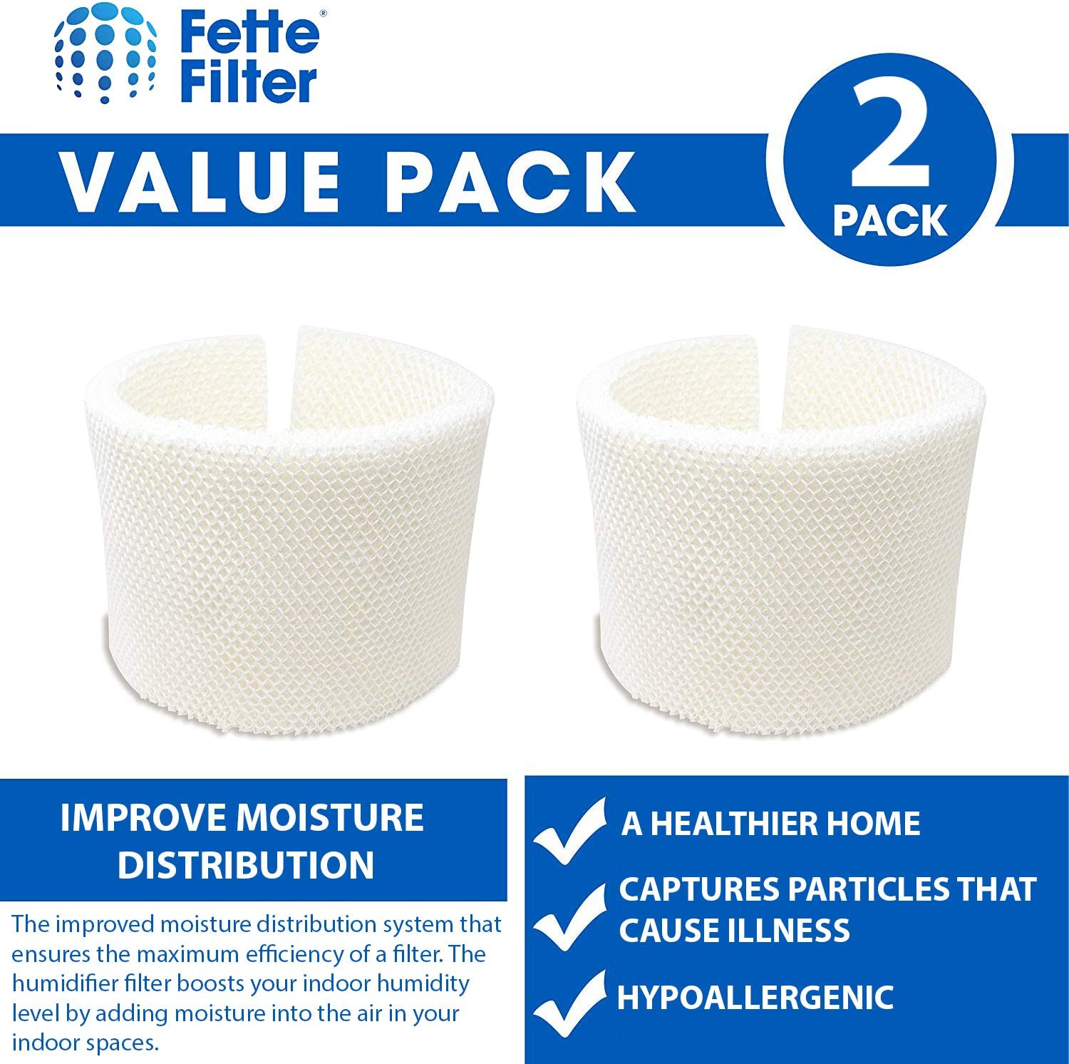 Humidifier Wicking Filter Compatible with MAF1 Fette Filter MA12001 MA12000 Pack of 2 Fits humidifier Model Numbers MA0950 MA12010 MA09500 MA1201 MA1200