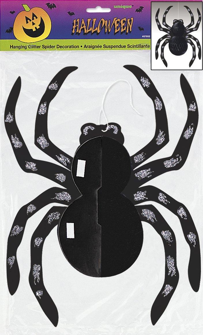 14 Hanging Glitter Spider Halloween Decoration Unique 87932