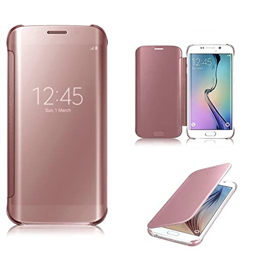 cfb0efef165738 Connect Zone® Rose Gold Luxury Smart Clear View Mirror Flip Protective Case  Cover with Sleep