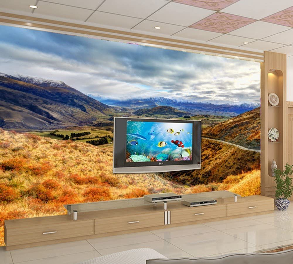 Fondo De Pantalla 3D Mountain Water Mountain Road Blue Sky Nube Blanca Hd Wallpaper Art Studio Sala De Estar Mural Tamaño De Encargo Material De La Tela De Seda Wapel 310X200Cm(122.05X78.74 In):