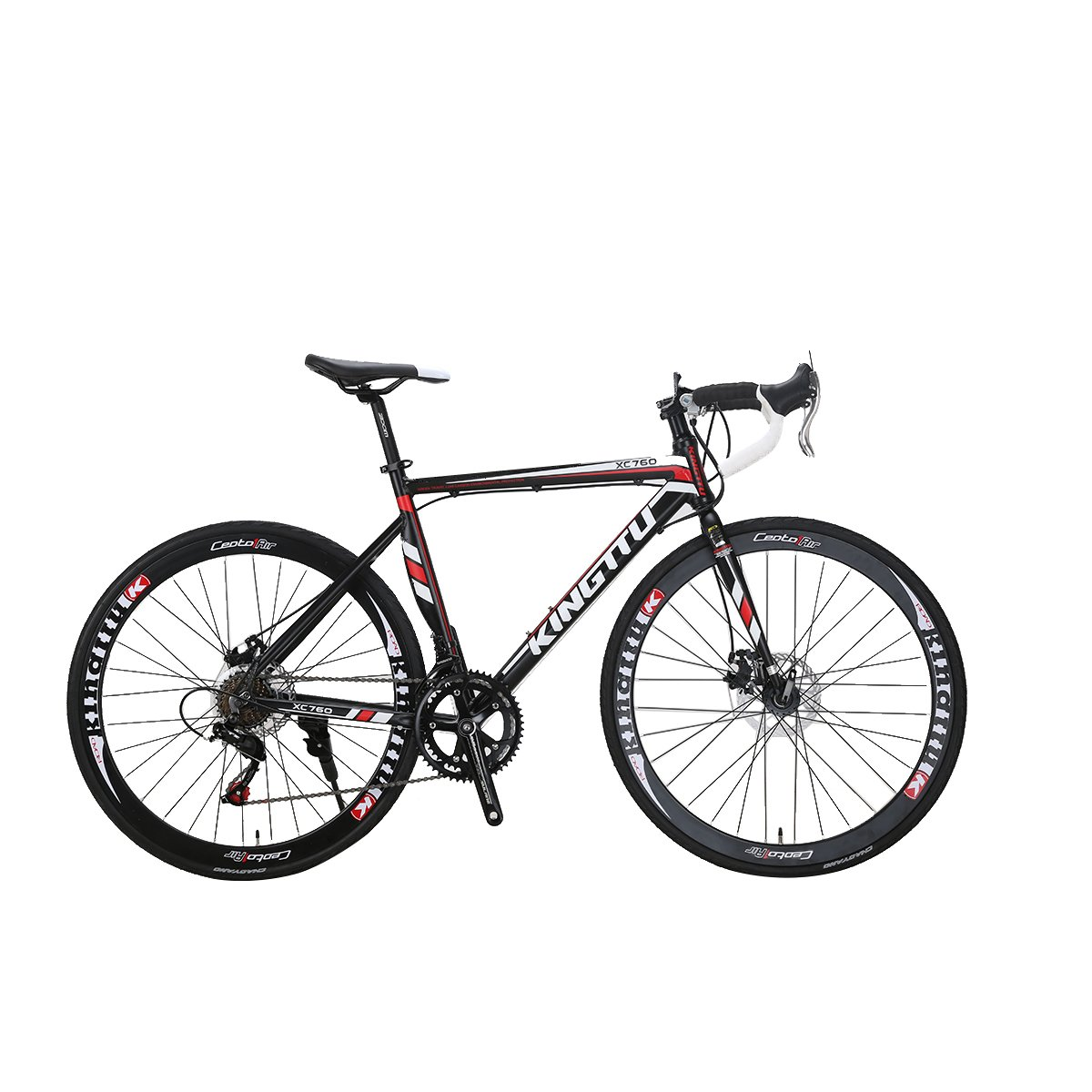 Cyrusher EUROBIKE 自転車 ロードバイク アルミフレーム シマノ14段変速TZ 50 52 700Cディスクブレーキ軽量 通勤 通学 街乗り B073F9FXRDブラック