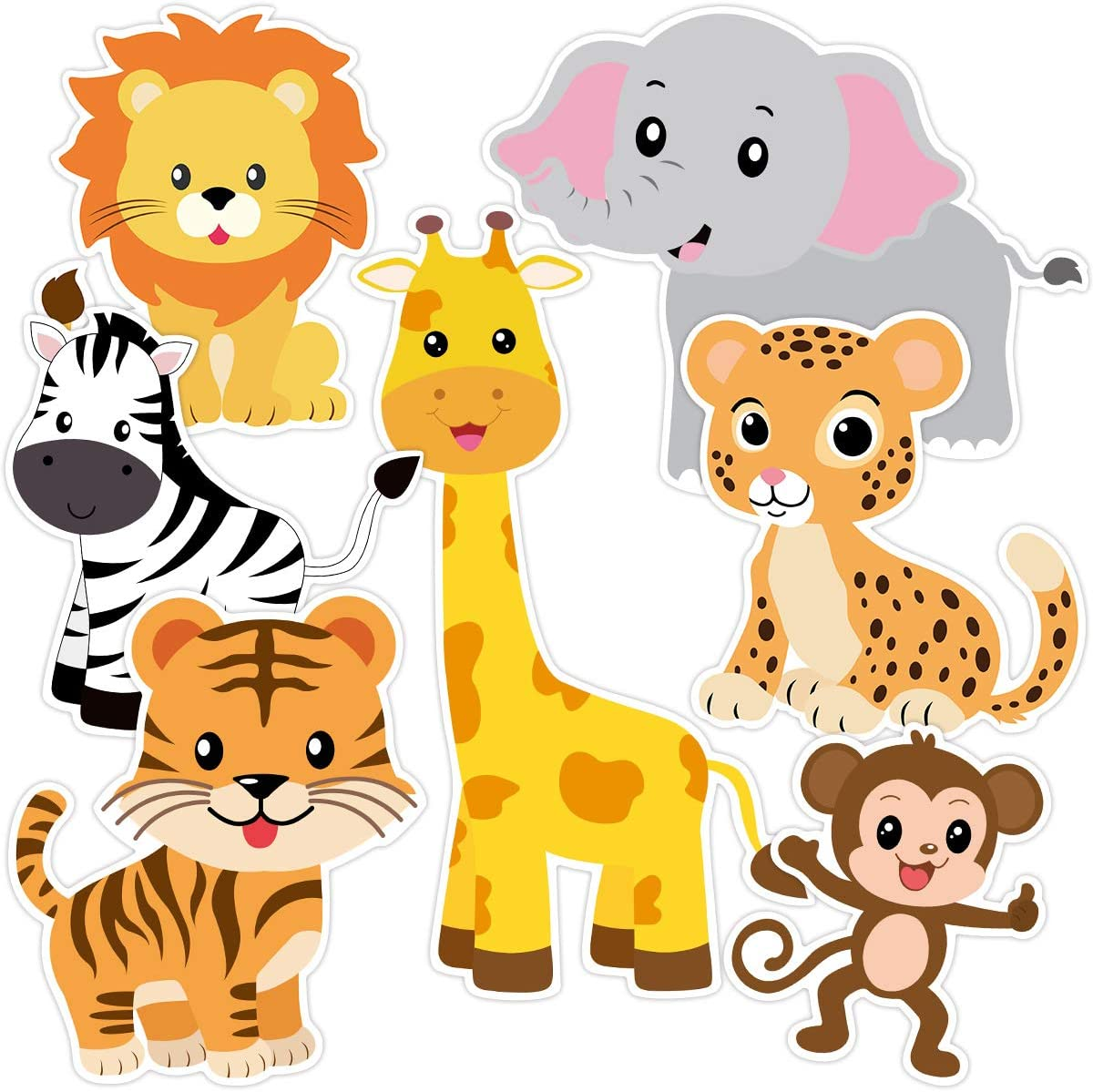 Zoo Animals Cutouts Safari Jungle Cut-Outs for Baby Shower Birthday Party 21 Count